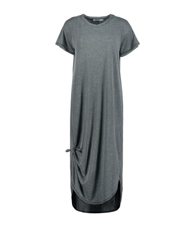 モッドドック レディース ワンピース トップス Burnout Wash Jersey Knotted Midi Short Sleeve T-Shirt Dress Black