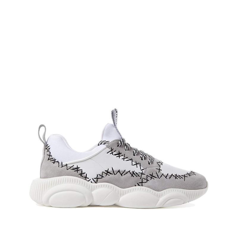 【国内正規品】 モスキーノ メンズ スニーカー シューズ Franken Stitch Sneakers Grey, 社町 4ec9c705