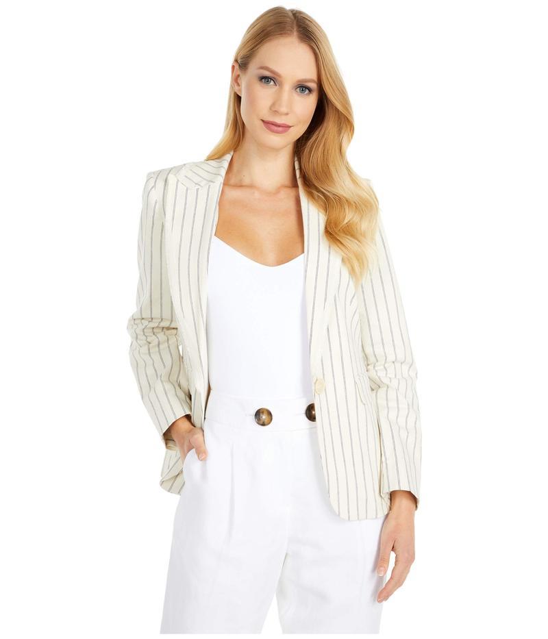 ヴィンスカムート レディース コート アウター Cotton Yarn-Dyed Stripe Blazer w/ Fringe Trim Pearl Ivory