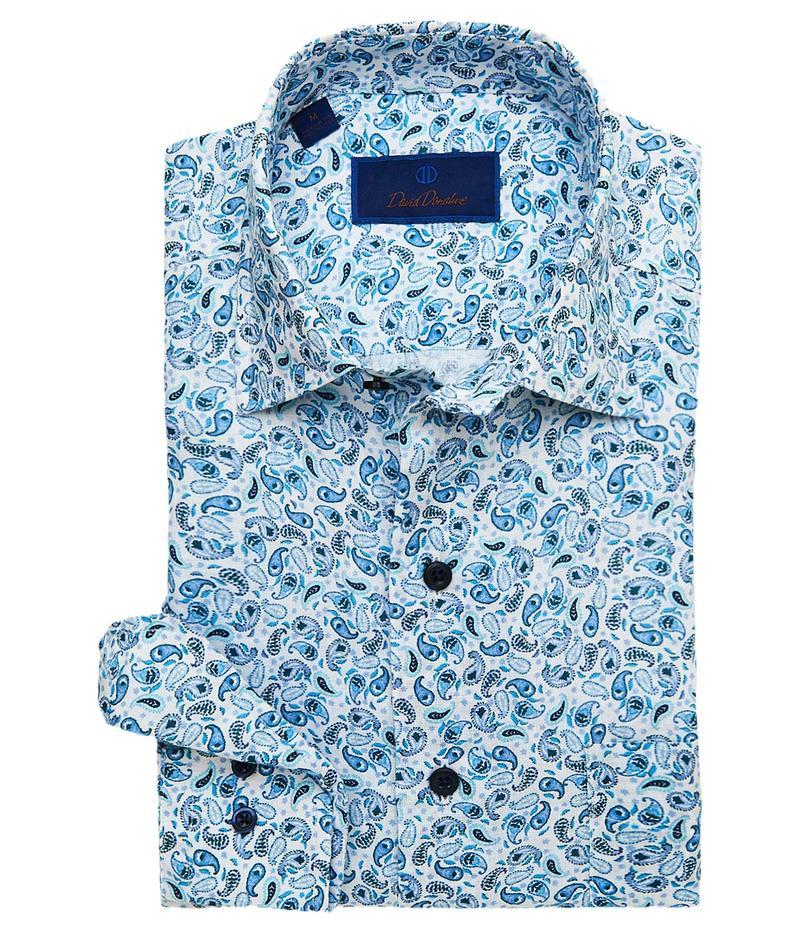 デイビッドドナヒュー メンズ シャツ トップス Paisley Linen Sport Shirt White/Blue