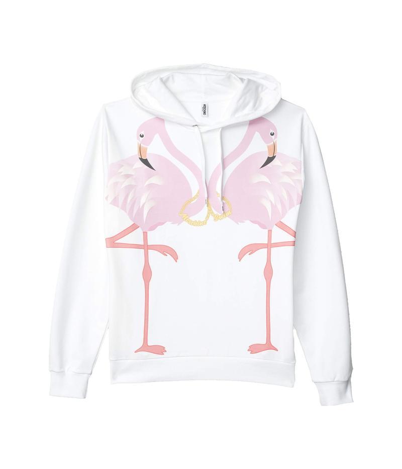 モスキーノ メンズ パーカー・スウェット アウター Pink Flamingo Hoodie White