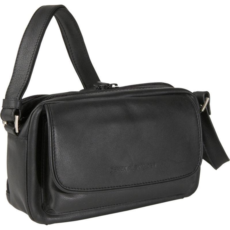 デレクアレクサンダー メンズ ショルダーバッグ バッグ E/W Double Top Zipper Shoulder Black