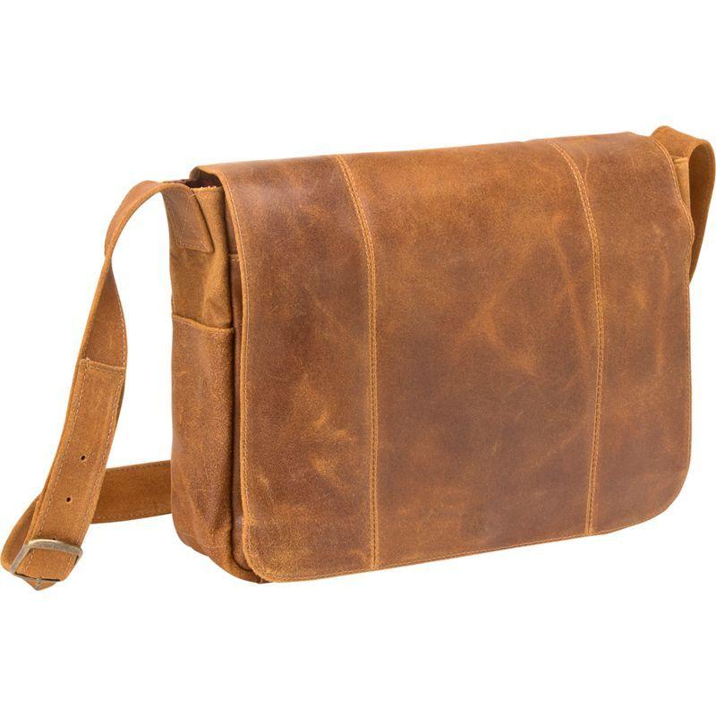 ルドネレザー メンズ スーツケース バッグ Distressed Leather Laptop Messenger Tan