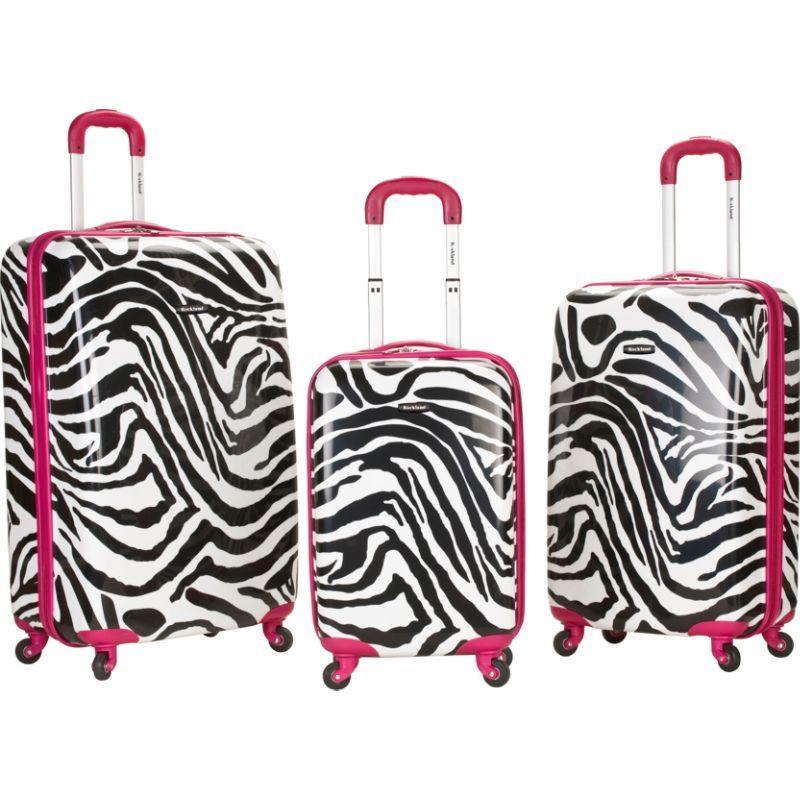 ロックランド メンズ スーツケース バッグ Safari 3 Piece Hardside Spinner Set Pink Zebra