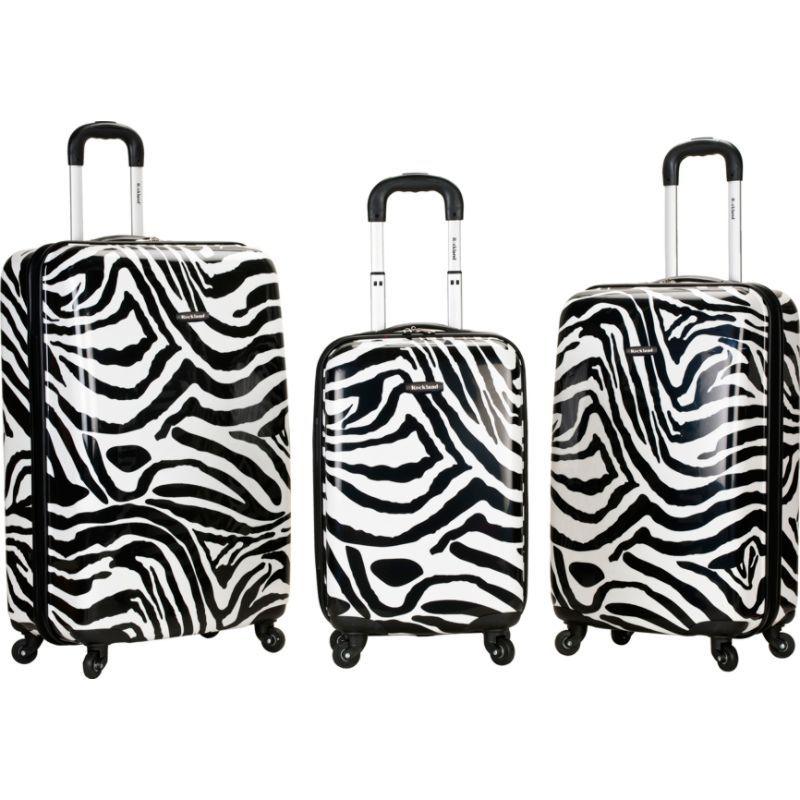 ロックランド メンズ スーツケース バッグ Safari 3 Piece Hardside Spinner Set Zebra