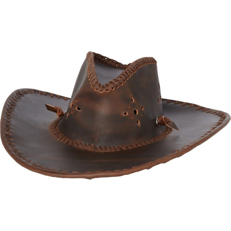 ヴァガボンドトラベラー メンズ 帽子 アクセサリー Leather Cowboy Hat Vintage Brown