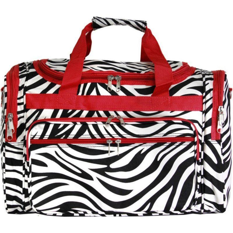 ワールドトラベラー メンズ スーツケース バッグ Zebra 22 Travel Duffle Bag Red Trim Zebra