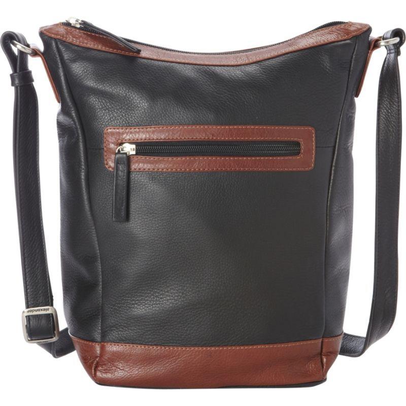 デレクアレクサンダー メンズ ボディバッグ・ウエストポーチ バッグ Medium NS Bucket, Cross Shoulder Black/Whisky