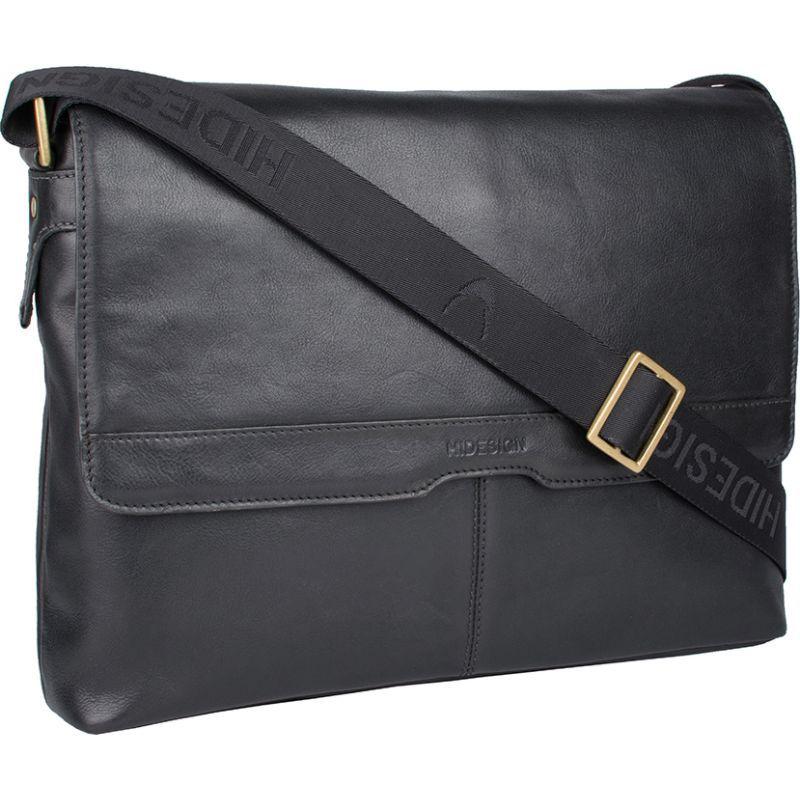 ハイデザイン メンズ ショルダーバッグ バッグ Helvellyn Medium Leather Messenger Black