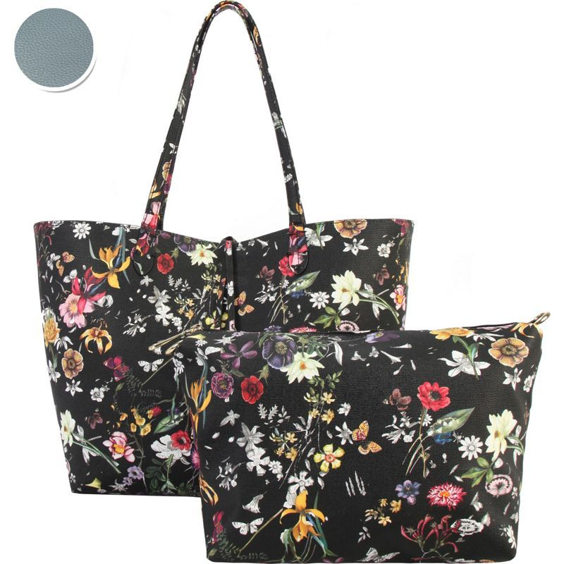 ディオフィ メンズ トートバッグ バッグ Colorful Floral Pattern Two-Tone Reversible Large Tote with Matching Crossbody 2 Piece Set Blue