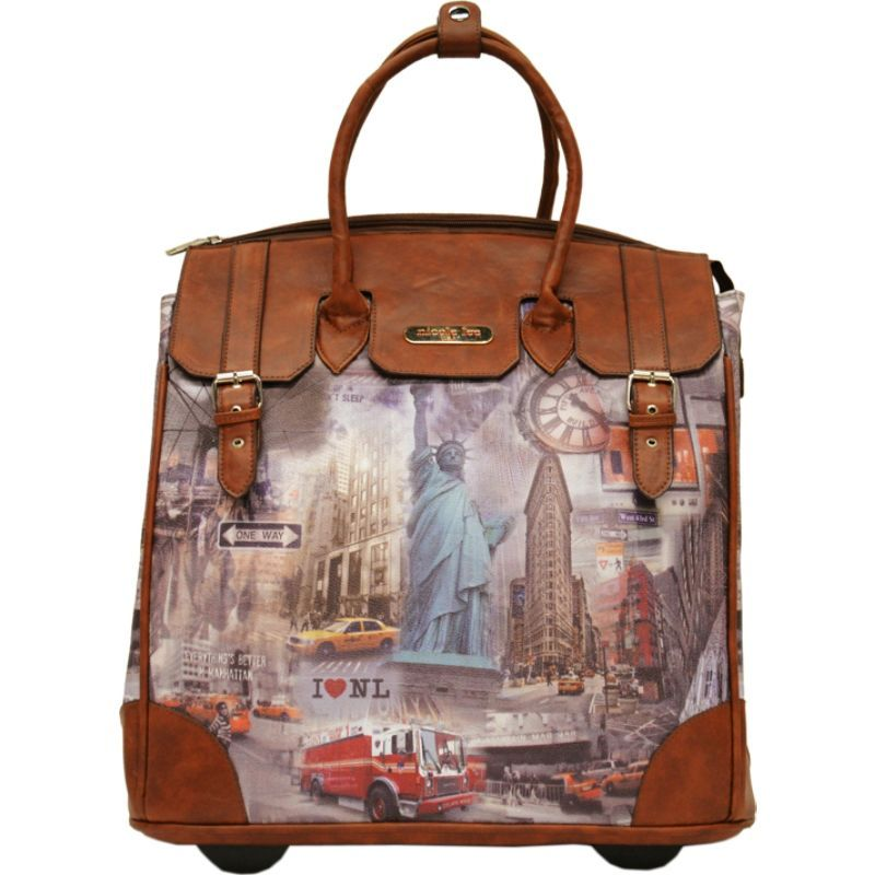 ニコルリー メンズ スーツケース バッグ Fiona Rolling Business Tote, Special Print Edition New York