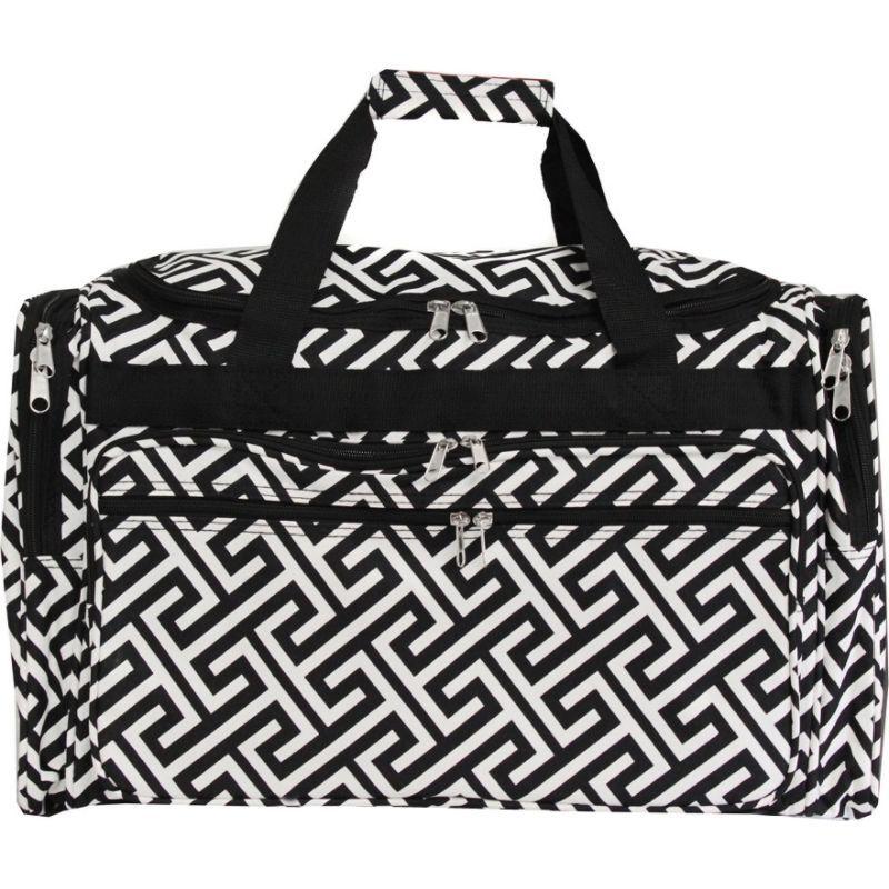 ワールドトラベラー メンズ スーツケース バッグ Greek Key 19 Shoulder Duffle Bag Black White Greek Key