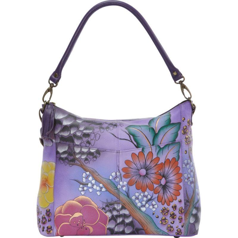 アンナバイアナシュカ メンズ ショルダーバッグ バッグ Hand Painted Leather Convertible Shoulder Bag Floral Safari Purple