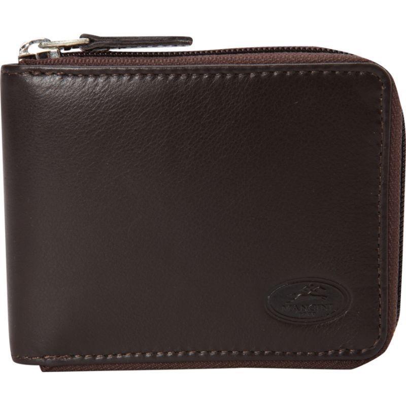 マンシニレザーグッズ メンズ 財布 アクセサリー Manchester Collection: Mens Zippered RFID Wallet Brown