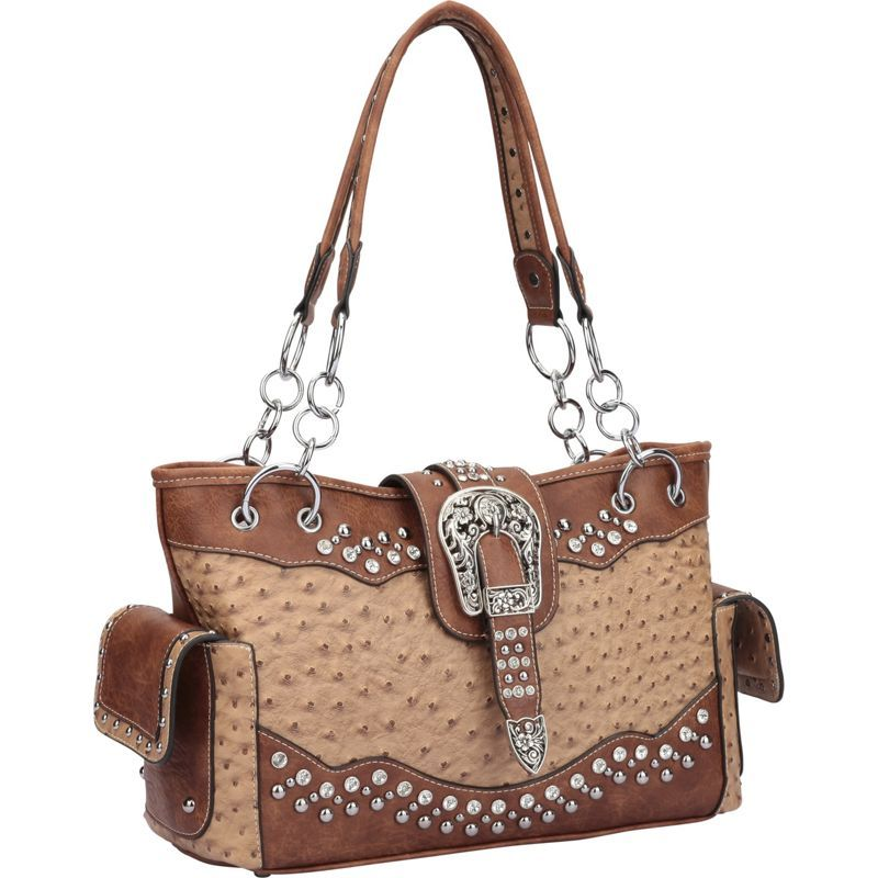 ダセイン メンズ ショルダーバッグ バッグ Western Style Ostrich Rhinestone Buckle Shoulder Bag Tan