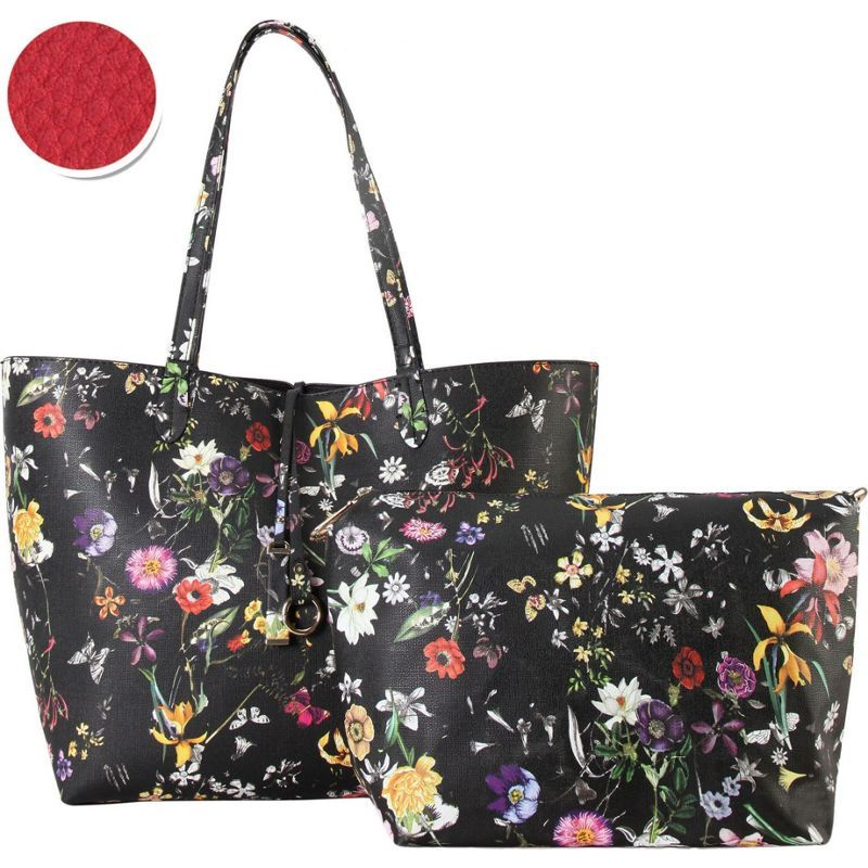 ディオフィ メンズ トートバッグ バッグ Colorful Floral Pattern Two-Tone Reversible Large Tote with Matching Crossbody 2 Piece Set Wine