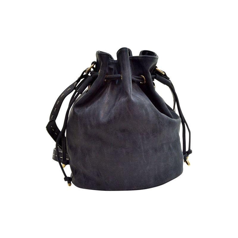 ダセイン メンズ ボディバッグ・ウエストポーチ バッグ Distressed Faux Leather Drawstring Bucket Crossbody Black