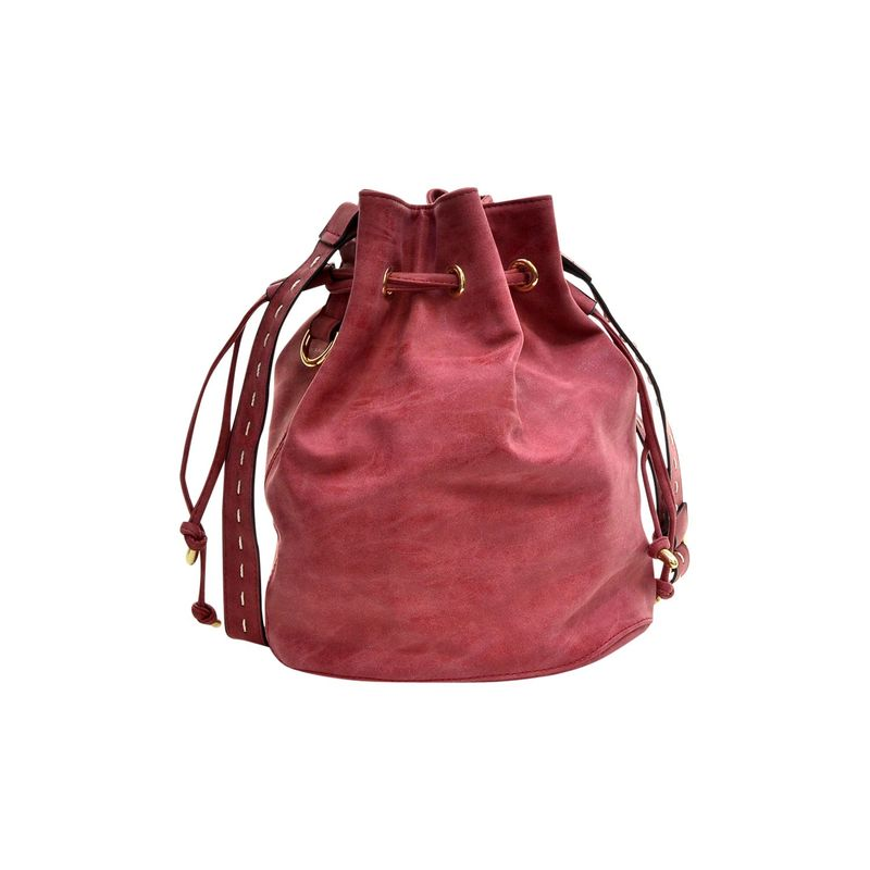 ダセイン メンズ ボディバッグ・ウエストポーチ バッグ Distressed Faux Leather Drawstring Bucket Crossbody Red