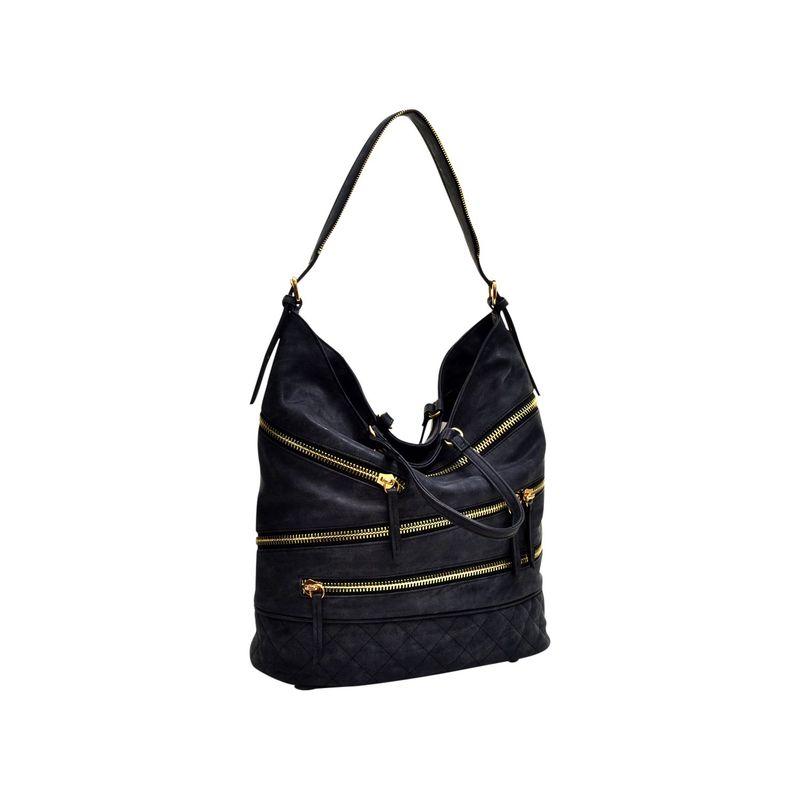 ダセイン メンズ ハンドバッグ バッグ Gold-Tone Quilted Hobo with Front Zipper Decoration Black