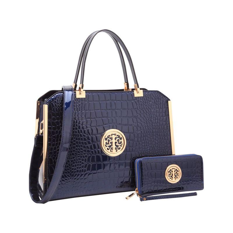 ダセイン メンズ ハンドバッグ バッグ Rolled Handle Croco Leather Satchel with Matching Wallet Navy Blue
