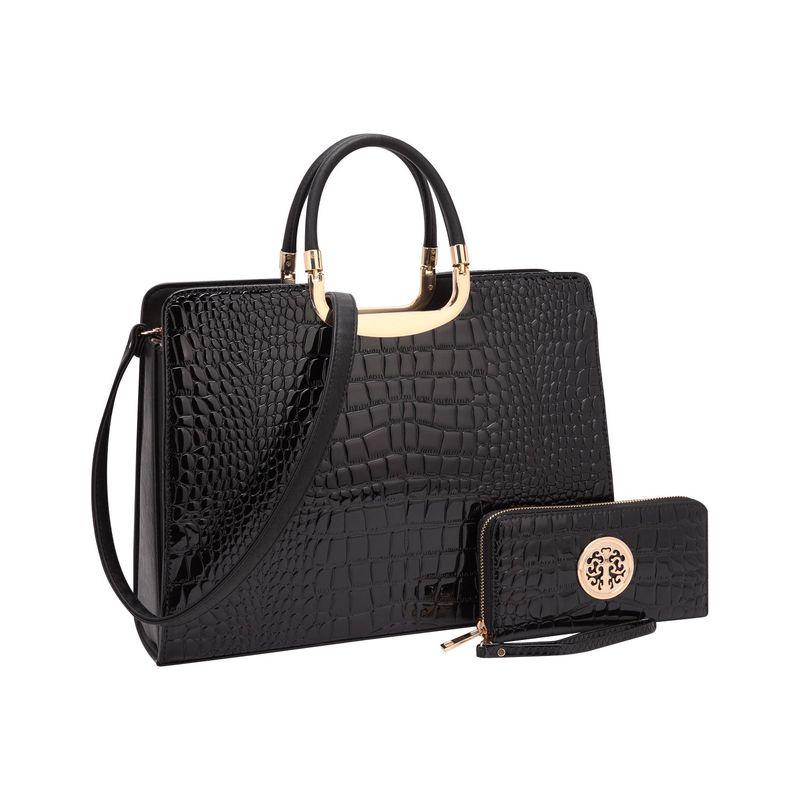 ダセイン メンズ ハンドバッグ バッグ Fashion Patent Croco Briefcase Satchel with Matching Wallet Black