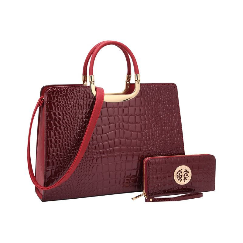 ダセイン メンズ ハンドバッグ バッグ Fashion Patent Croco Briefcase Satchel with Matching Wallet Wine
