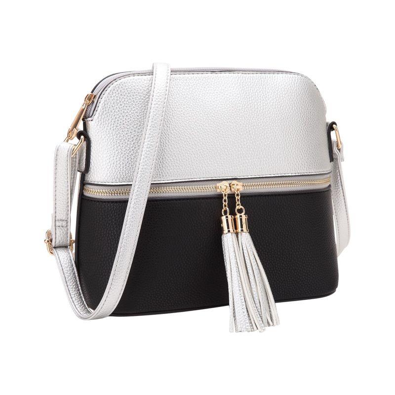 ダセイン メンズ ボディバッグ・ウエストポーチ バッグ Fashion Two Tone All-In-One Crossbody Silver/Black