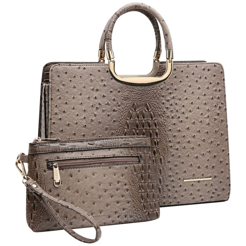 ダセイン メンズ ハンドバッグ バッグ Ostrich Embossed Briefcase Satchel with Matching Wristlet Khaki