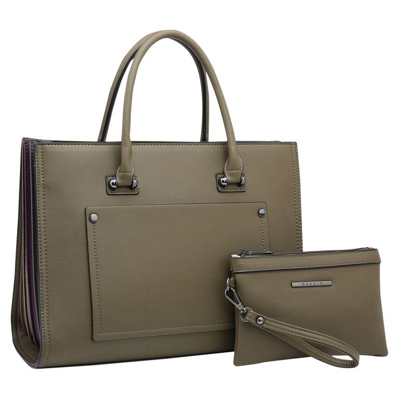 ダセイン メンズ ハンドバッグ バッグ Briefcase Satchel with Matching Accessory Pouch Green