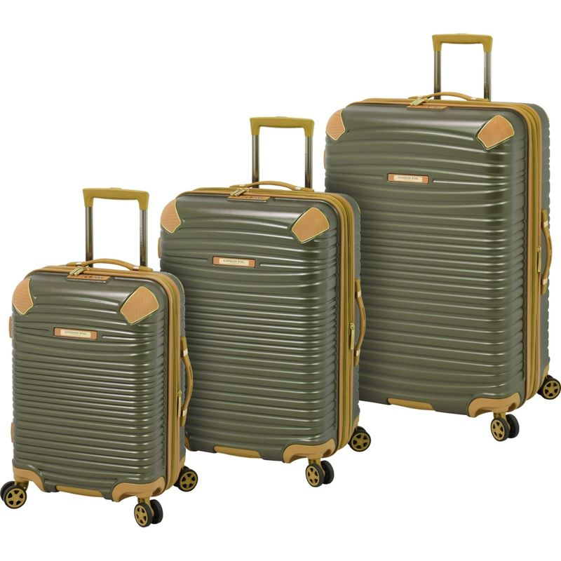 ロンドンフォグ メンズ スーツケース バッグ Huntington 3 Piece Expandable Hardside Spinner Set Olive with Sand