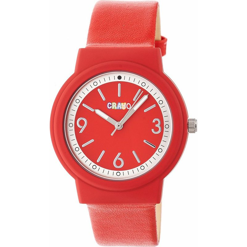 クラヨ メンズ 腕時計 アクセサリー Womens Vivid Leatherette-Band Watch Red