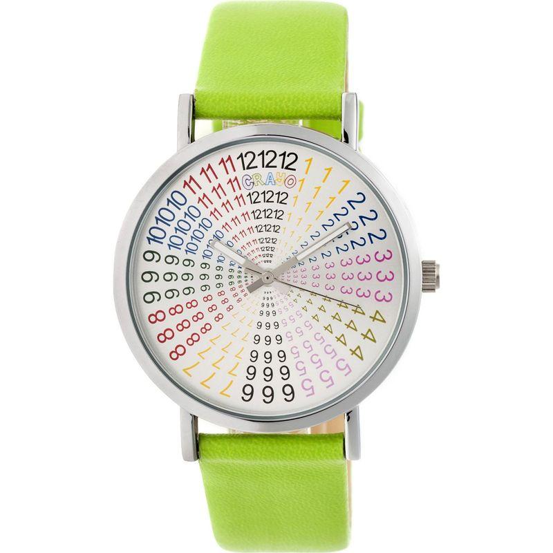 クラヨ メンズ 腕時計 アクセサリー Womens Fortune Leatherette-Band Watch Lime