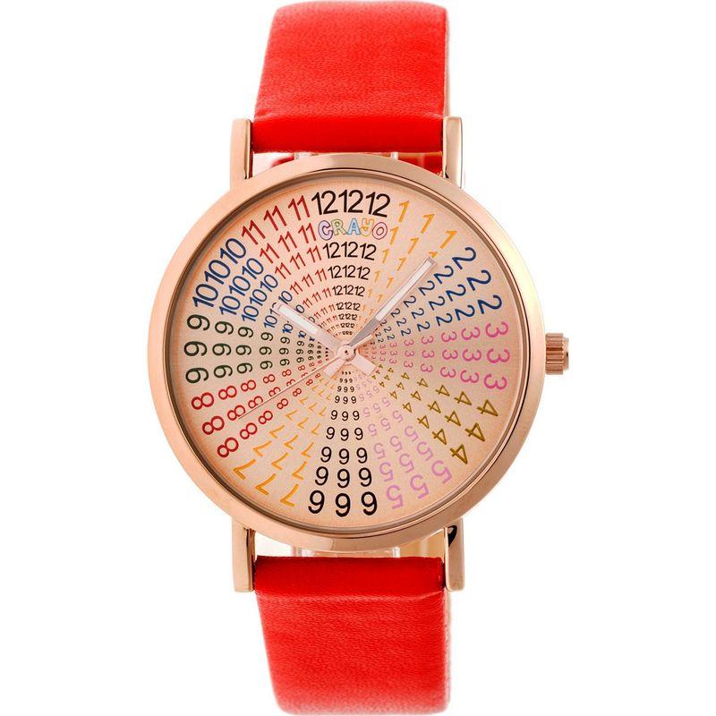 クラヨ メンズ 腕時計 アクセサリー Womens Fortune Leatherette-Band Watch Red