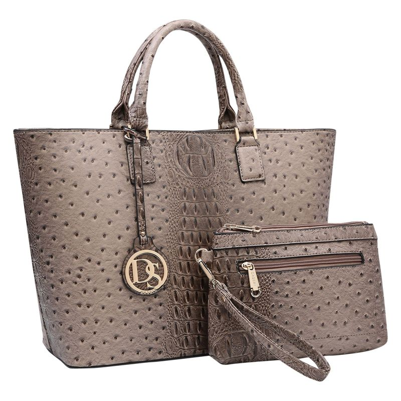 ダセイン メンズ トートバッグ バッグ Ostrich Embossed Briefcase Tote with Matching Wristlet/Accessory Pouch Khaki