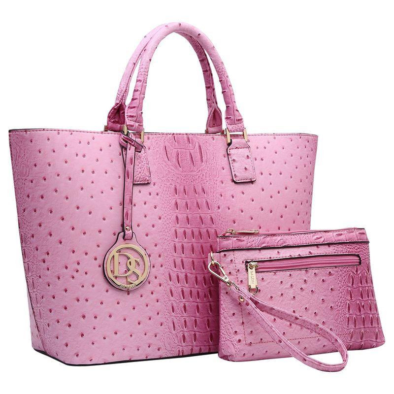 ダセイン メンズ トートバッグ バッグ Ostrich Embossed Briefcase Tote with Matching Wristlet/Accessory Pouch Pink