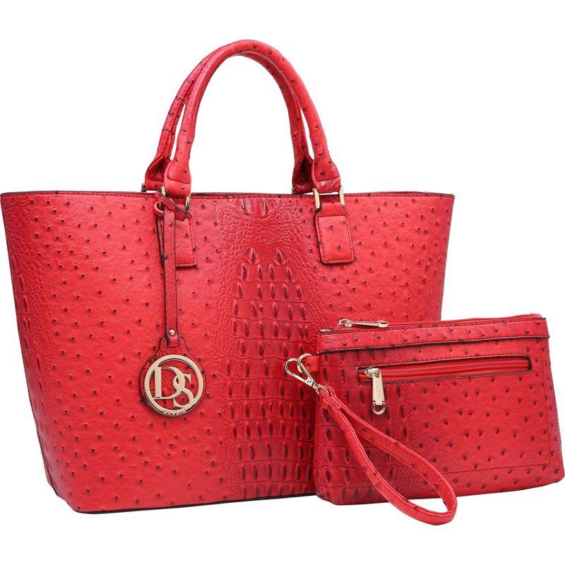 ダセイン メンズ トートバッグ バッグ Ostrich Embossed Briefcase Tote with Matching Wristlet/Accessory Pouch Red