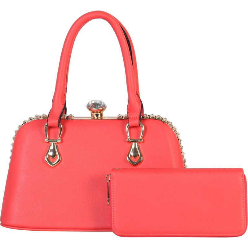 ディオフィ メンズ トートバッグ バッグ Crystal Frame Structured Tote with Matching Wallet Coral