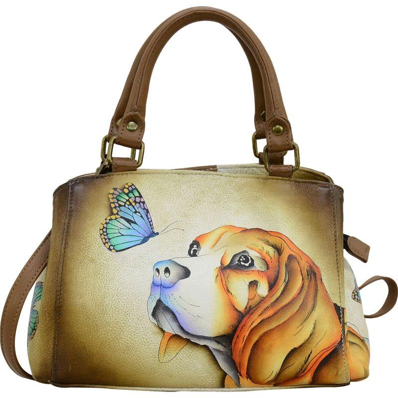 アンナバイアナシュカ メンズ ハンドバッグ バッグ Hand Painted Small Multi-Compartment Satchel Puppy Love