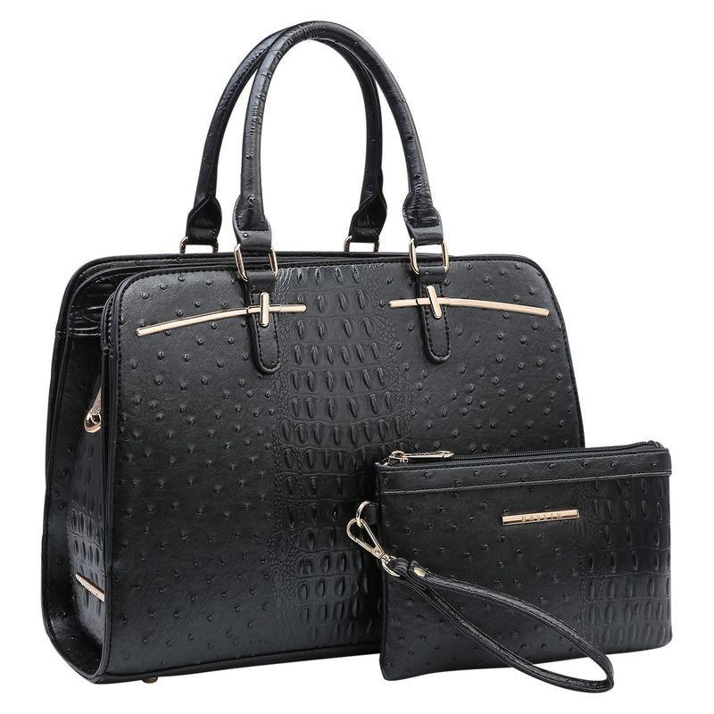 ダセイン メンズ ハンドバッグ バッグ Ostrich Embossed Leather Satchel with Matching Wristlet Black