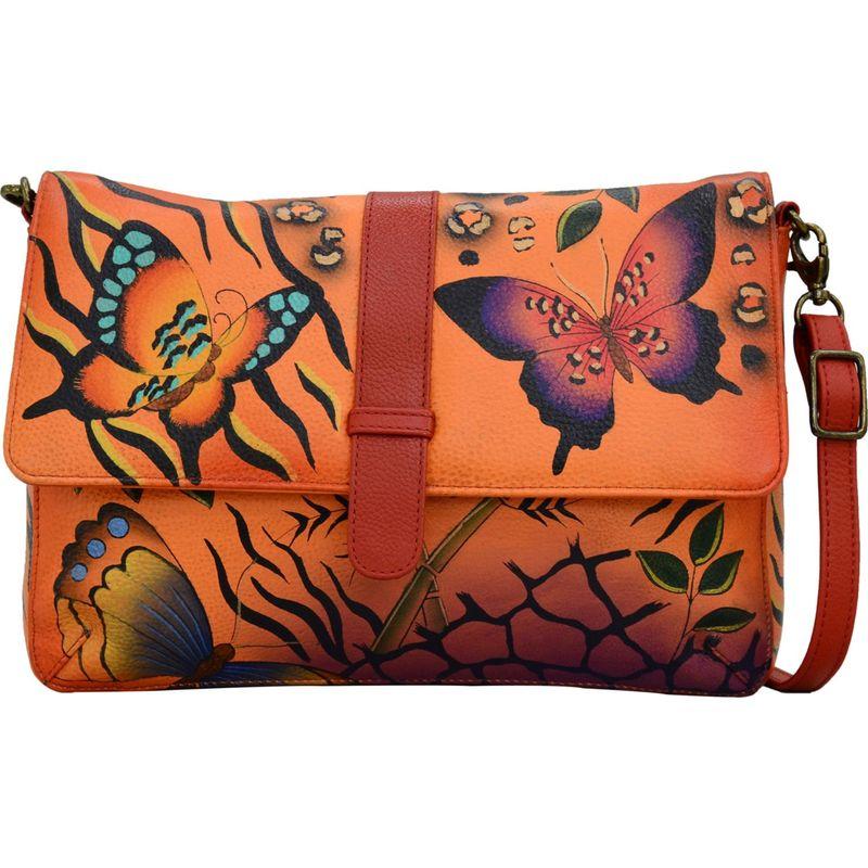 アンナバイアナシュカ メンズ ボディバッグ・ウエストポーチ バッグ Hand Painted Medium Flap Messenger Animal Butterfly Tangerine