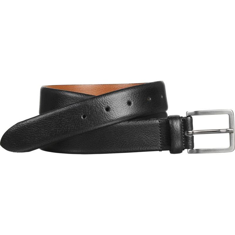 ジョンストンアンドマーフィー メンズ ベルト アクセサリー Mens Italian Feathered Edge Belt 32 - Black