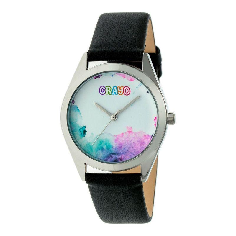 クラヨ メンズ 腕時計 アクセサリー Graffiti Leather-Band Watch Black