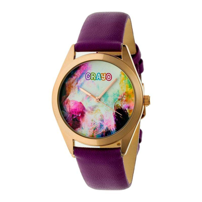 クラヨ メンズ 腕時計 アクセサリー Graffiti Leather-Band Watch Purple