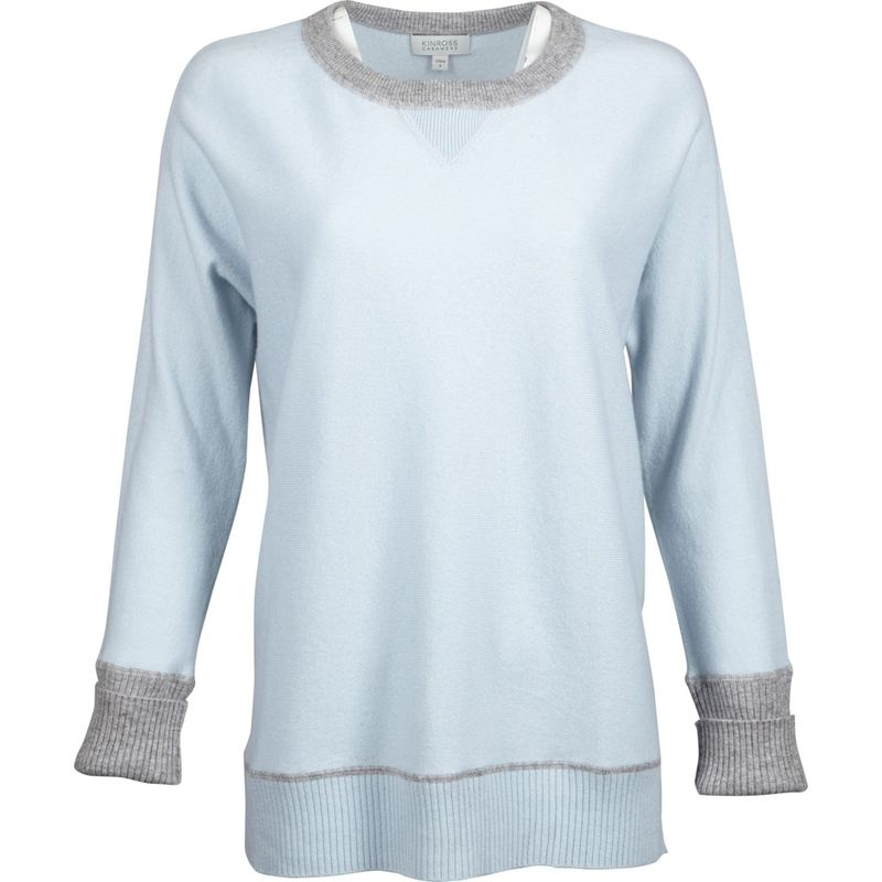 キンロスカシミア レディース ニット・セーター アウター Hi Low Sweatshirt S - Arctic/Sterling