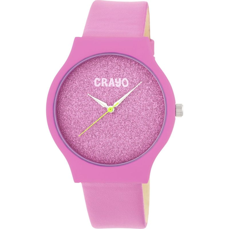 クラヨ メンズ 腕時計 アクセサリー Womens Glitter Leatherette-Band Watch Pink