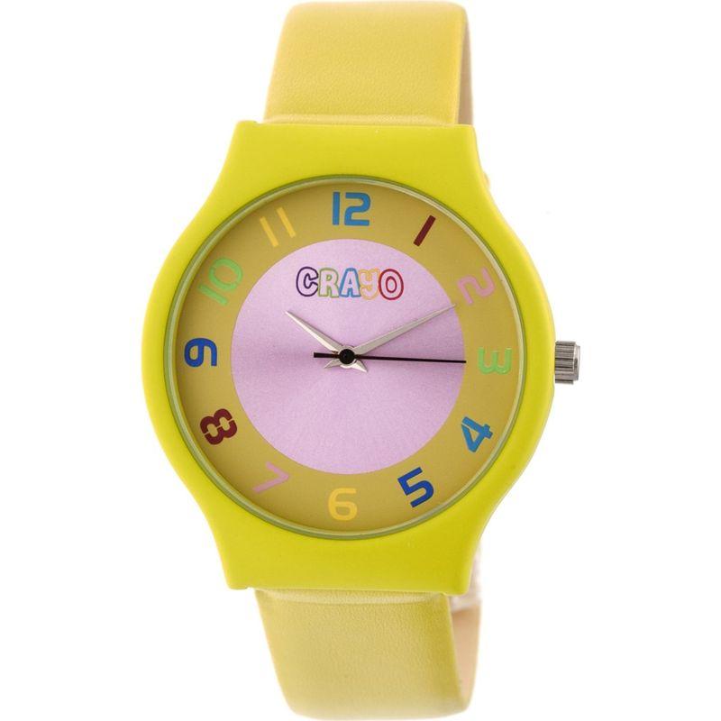 クラヨ メンズ 腕時計 アクセサリー Womens Jubilee Leatherette-Band Watch Yellow