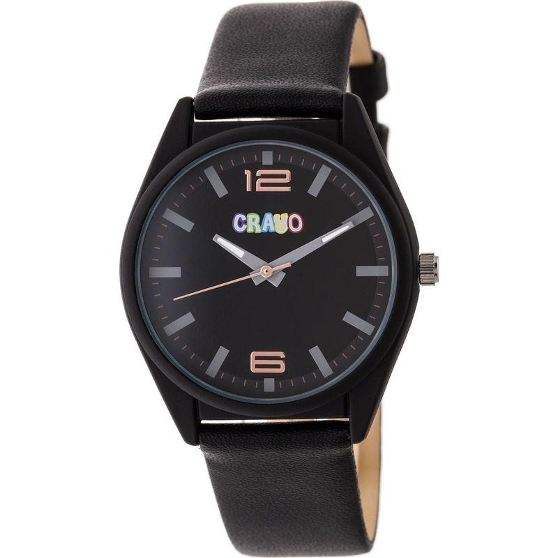 クラヨ メンズ 腕時計 アクセサリー Womens Dynamic Leatherette-Band Watch Black