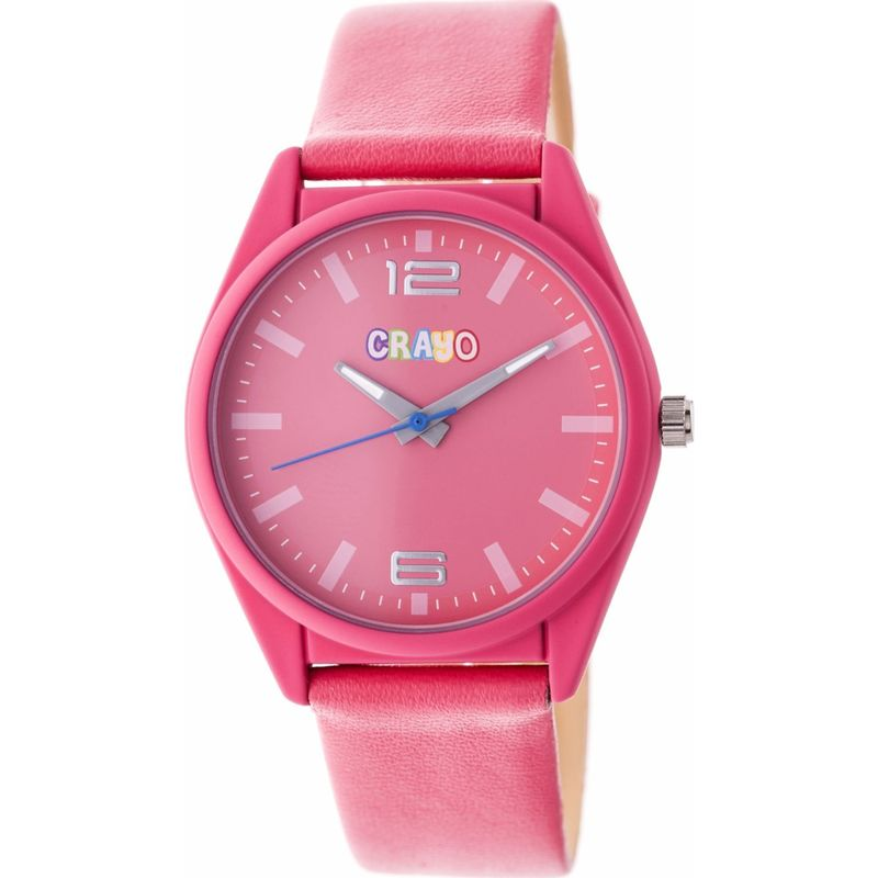 クラヨ メンズ 腕時計 アクセサリー Womens Dynamic Leatherette-Band Watch Pink