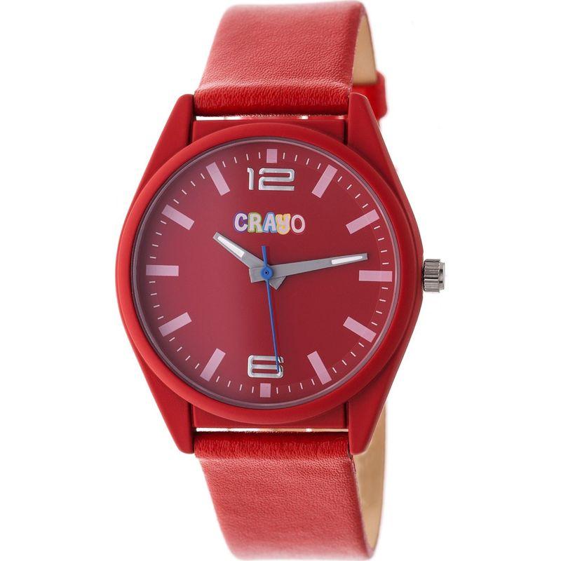 クラヨ メンズ 腕時計 アクセサリー Womens Dynamic Leatherette-Band Watch Red