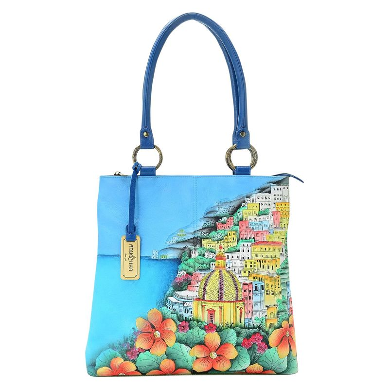 アンナバイアナシュカ メンズ トートバッグ バッグ Hand Painted Leather Zip Top Multi Compartment Shopper Tote Bag Amalfi Dawn